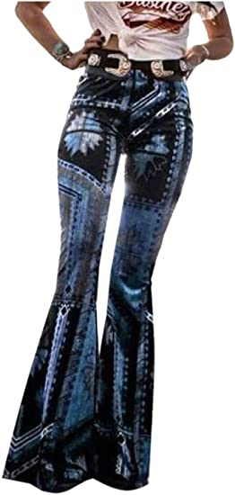 EnergyWD Womens Flare Bohemian Style Lounge Fitness Floral Printed Long Pants