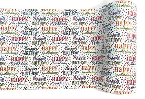 Rustic Pearl Collection Paper Table Runner Happy Birthday Table Runner, 18 Inches x 25 Feet, Paper Runner w/Colorful Fun Birthday Wishes