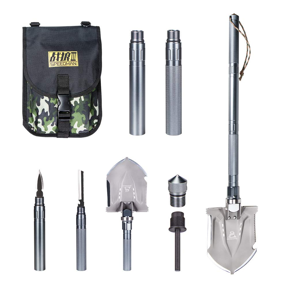 Wanlusha Folding Shovel, Portable Military Shovel with Tactical Waist Pack, Trench Entrenching Tool, Multi-Function Survival Kit for Outdoors Sporting - Silver