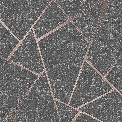 (Quartz Fractal Wallpaper Charcoal and Copper Fine Decor FD42283 )