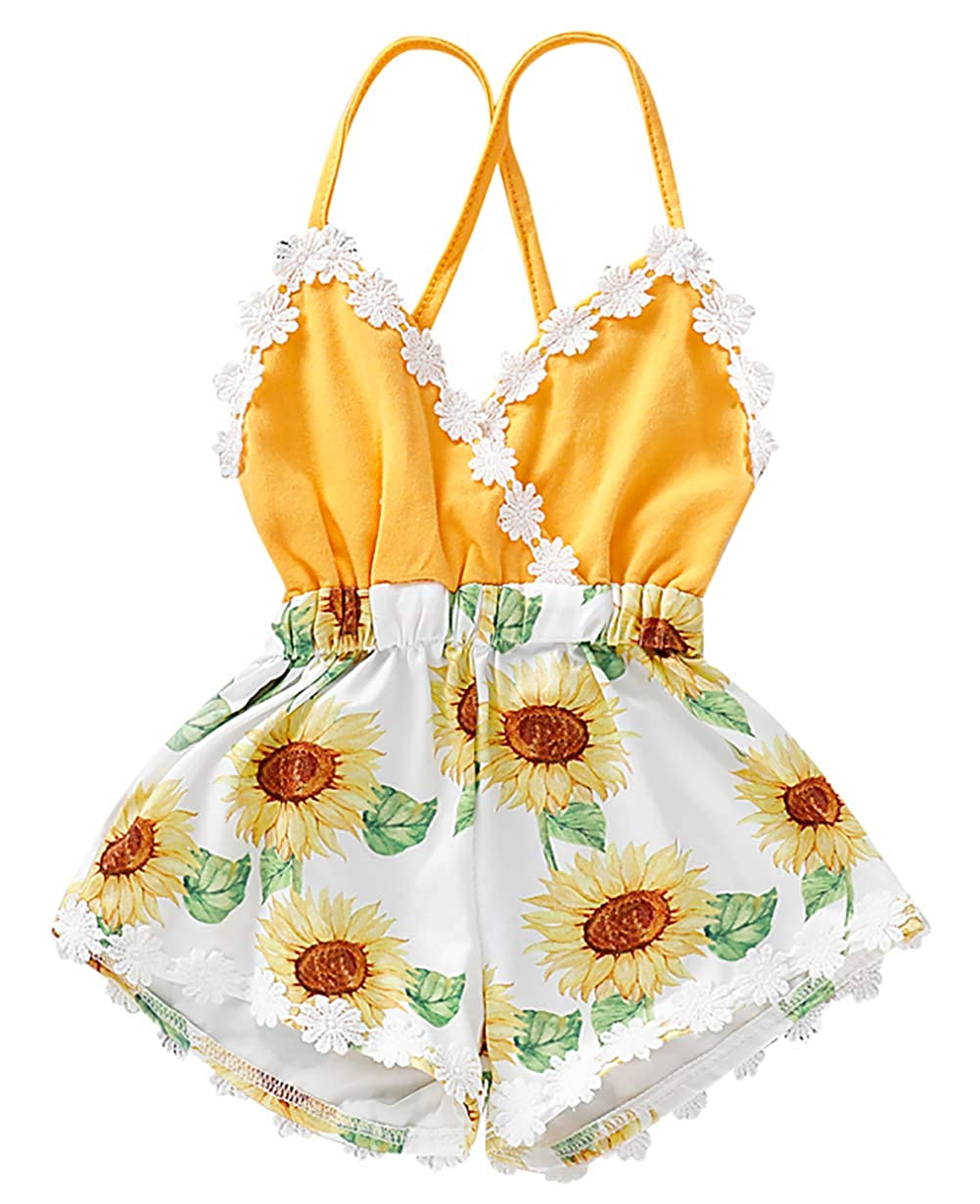 KIDDAD Toddler Baby Girl Cute Sunflower Print Romper Strap Lace Trim Backless Bodysuit Jumpsuit Outfits Clothes