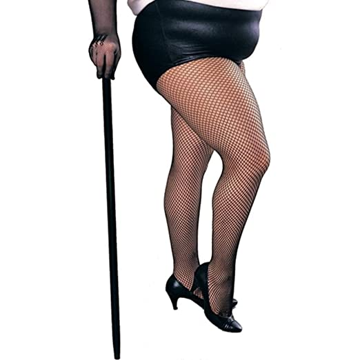 Flapper Costumes, Flapper Girl Costume Plus Size Net Black Tights $5.63 AT vintagedancer.com