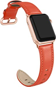 SWEES Leather Band Compatible with iWatch 38mm 40mm, Genuine Leather Elegant Dressy Replacement Strap Compatible with iWatch Series 5/4/3/2/1 Sport Edition Women, Ferrair