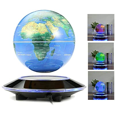 LYNICESHOP 6'' Globe Anti Gravity Rotating World Map with LED Light for Children Educational Gift Home Office Desk Decoration (Multi-Color): Toys & Games