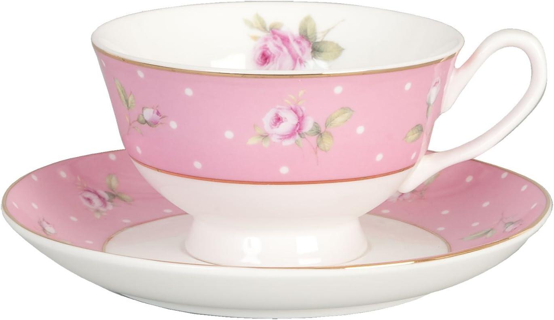 Clayre /& Eef RRKSP Kaffeetasse Tasse mit Untertasse Rosa