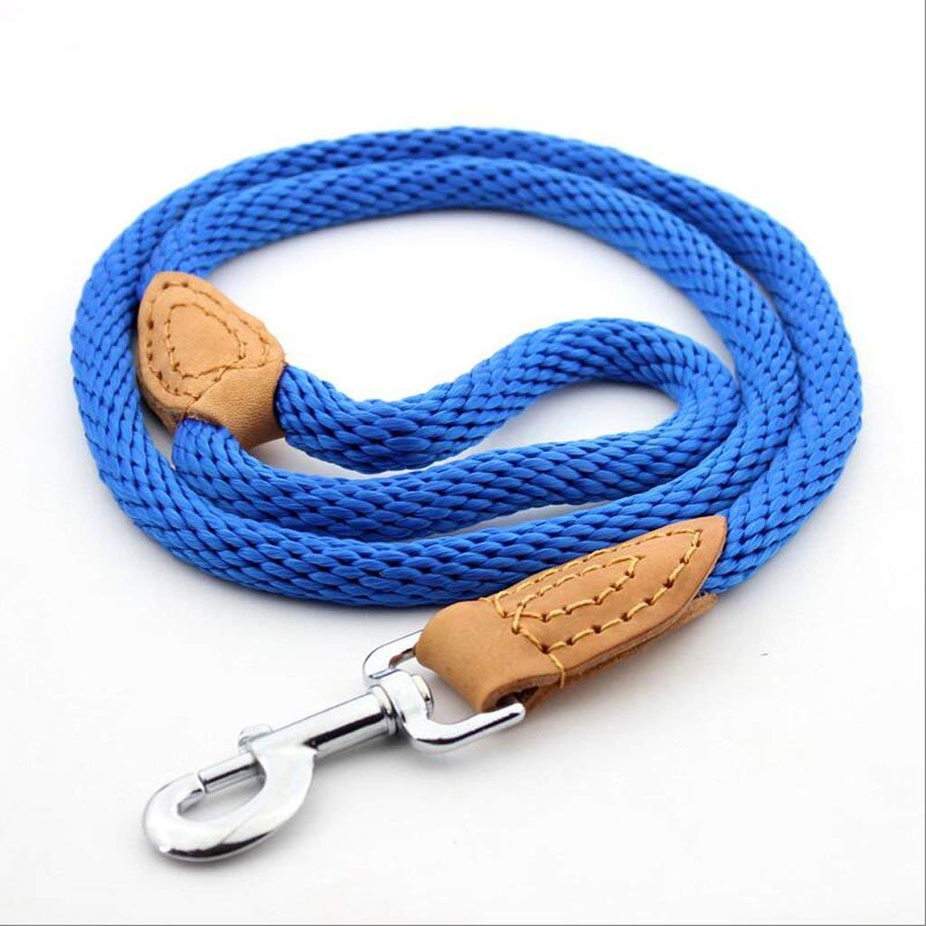 Durable Rope Twist Lead Pets Lead for Dogs Dog leash Pet Nylon Traction Rope Decorative Leather, Outdoor Training Soft And Durable Belt Color Optional (blue/brown) (Color : Blue) ( Color : Blue ) by Siweike