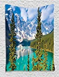 Ambesonne Cottage Decor Collection, Sight of Moraine Lake Rocky Mountains and Summer Forest after Alive Tall Floiaged Trees View, Bedroom Living Room Dorm Wall Hanging Tapestry, Teal Aqua Blue Green