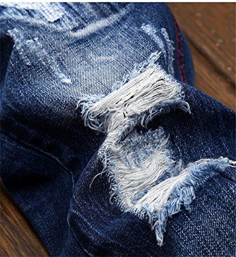 Chomay Herren Jeanshose Slim Fit Skinny Röhrenjeans Bleach Wash Zerrissen Stitches Darkblue 164