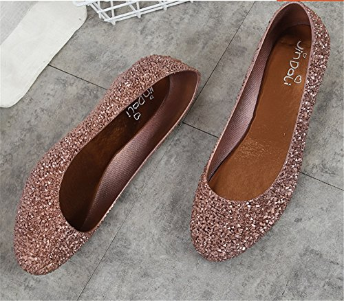 Women's Toe Sweet Flats Shoes Colorful On Slip Waterproof Jelly Peep pit4tk Bronze Shoe Bgwqfpnq