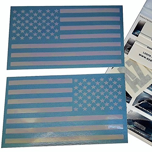 Az Auto Graphics (White 4 x 7) Pair US American Flag Decal Sticker Die-Cut Jeep Car Truck FREE SQUEEGEE TOOL Subdued Tactical Motorcycle