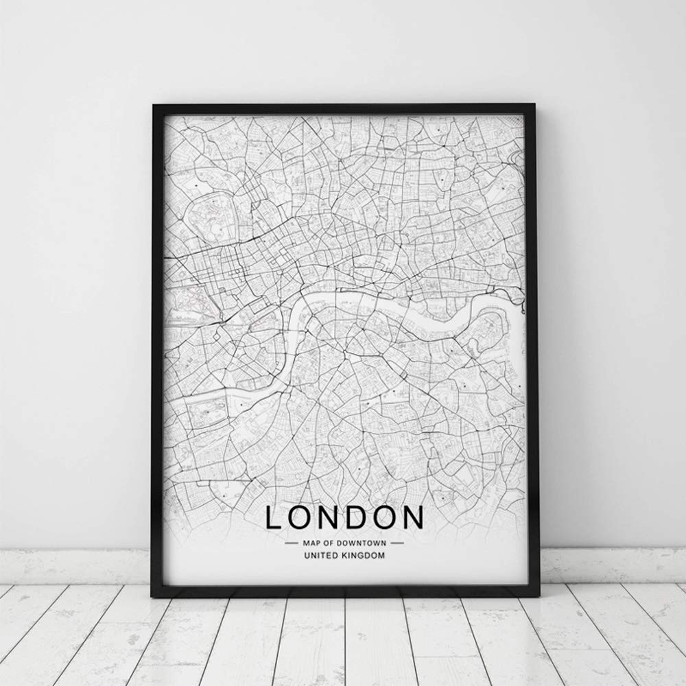 Free London Street Map.London City Downtown Map Wall Art London Street Map Print London Map Decor City Road Art Black And White City Map Office Wall Hanging 8x10 Inch No