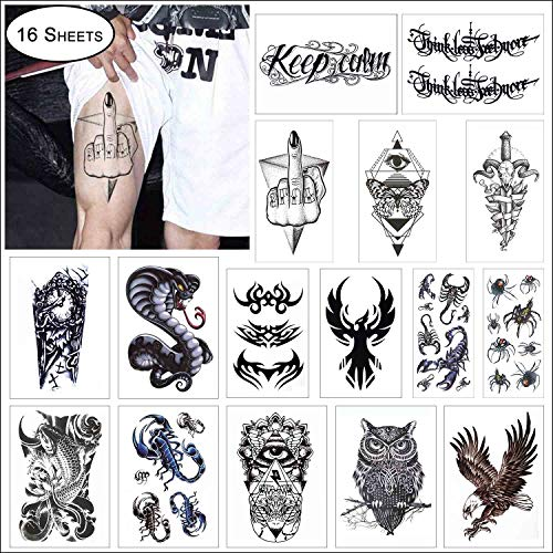 COKOHAPPY 16 Sheets Black Large Temporary Tattoo for Guys Man Arm Shoulder Tribal Symbols, Koi Fish, Eagle Hawks, Owl, Snake, Scorpion, Spider