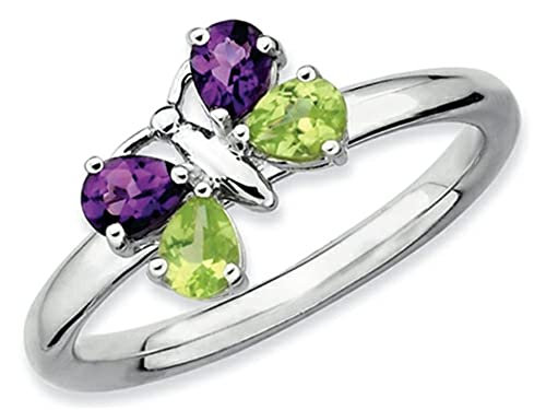 Stackable Expressions Sterling Silver Amethyst and Peridot Butterfly Stackable Ring