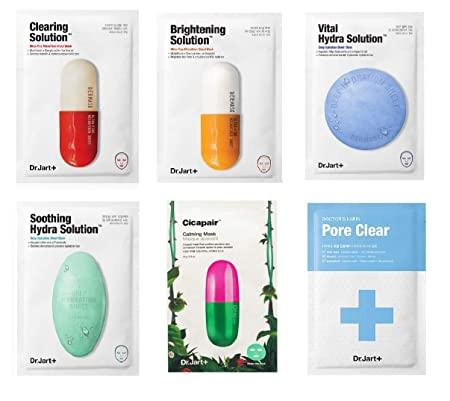Dr. Jart Mask Sheet Set 6 Pcs Mixed with Pore Mask Brightening Mask Comes in a Customized Gift Packaging