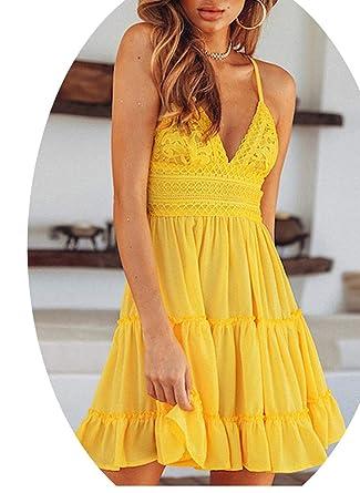 90c978239d9a Summer Lace Dress Backless V-neckSleeveless White Sundress