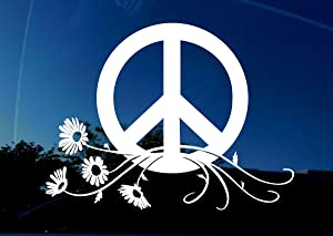 "Peace Decal Sign Symbol Car Window Sticker - Large Size 7"" x 5.3"" inch - Peace Flower Power Daisy for Laptop Walls"