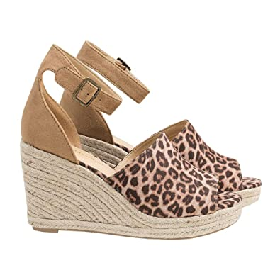 e775c48e57f0 Image Unavailable. Image not available for. Color  Syktkmx Womens  Espadrille Platform Wedge Heel Peep Toe Ankle Strap Slingback Sandals
