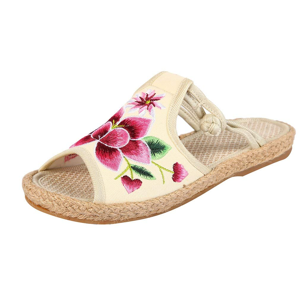 XEDUO Flip Flop Sandals Women 2019 Fashion, Women's Sandals Embroidered Slippers Fish Mouth National Old Beijing Cloth Shoes