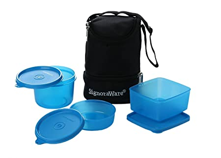 Signoraware Trio Lunch Box with Bag,Color May Vary 525 Lunch Boxes