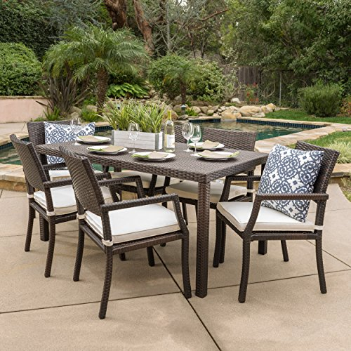 (Edene Patio Furniture ~ 7 Piece Outdoor Wicker Rectangular Dining Set)