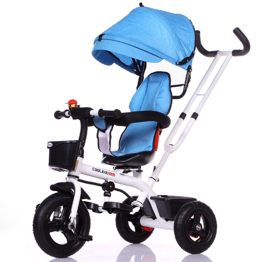 子供の三輪車の自転車1-5歳のベビーカーのベビーカーの子供の自転車キッズバイク、青、灰色、紫、灰色/黒のフレーム ( Color : Blue ) B07C84B77Y