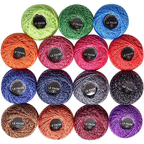Pack of 15 Pcs 15 Colors Metallic Cotton Crochet Thread Size8 ,Total 655 Yards Knitting Balls Yarn Tatting Doilies Assorted Skeins Lacey Craft Thread
