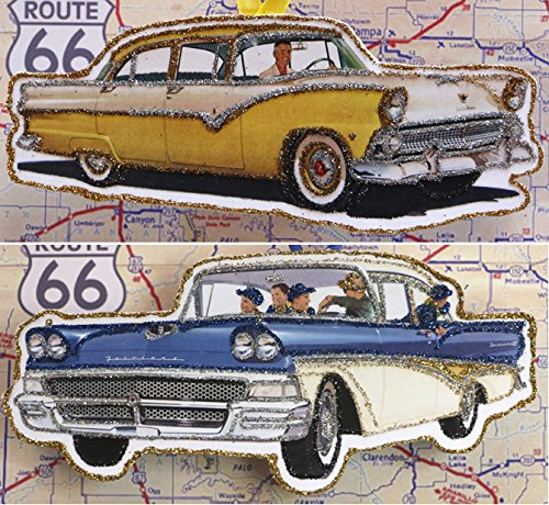 Toy Fairlane - TWO Vintage Ad Classic Car Ornaments~Glittered Wooden Decoration~'55 & '58 Ford Fairlane