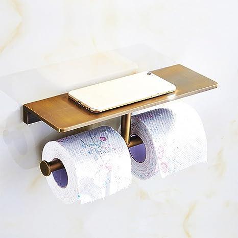 ZHEN GUO Titular de papel higiénico de latón antiguo montado en la pared af37f57f77a0