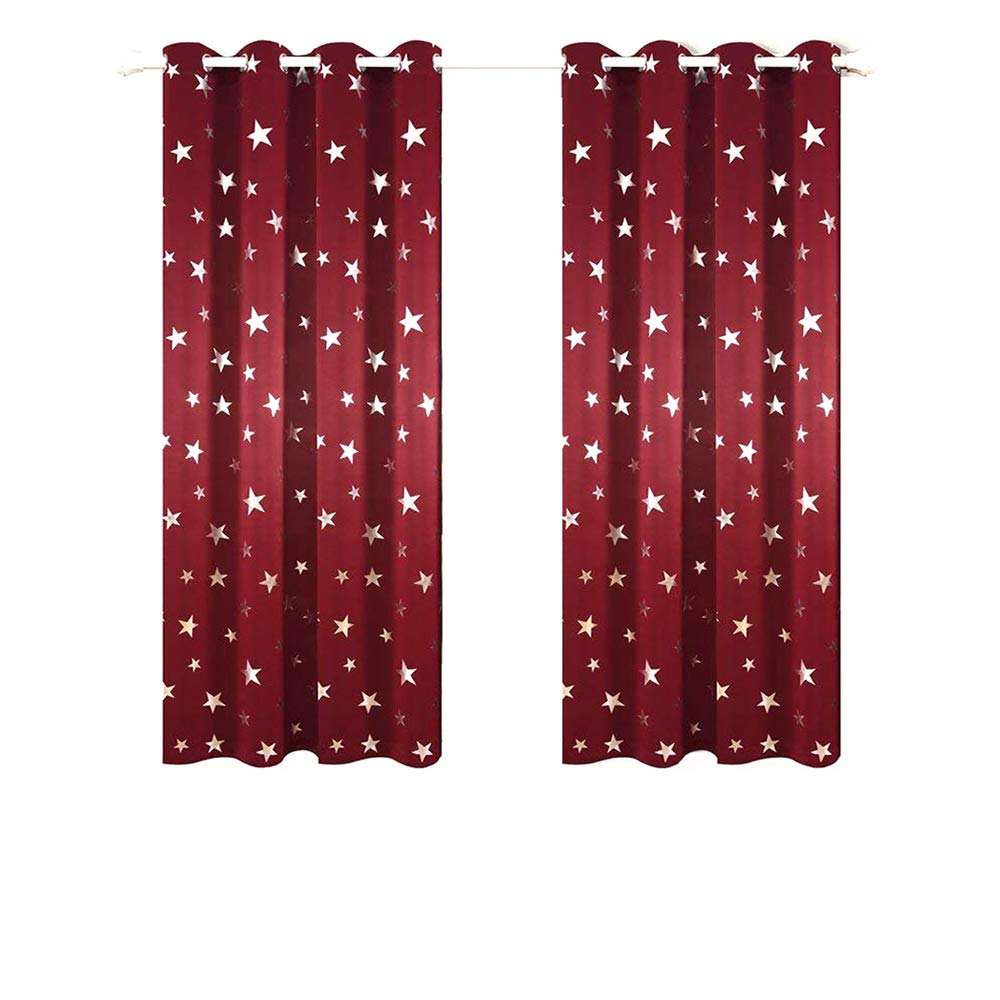 Anjee Silver Star Curtains for Kids Room (2 Panels with 2 Tiebacks), Thick Blackout Window Curtains for Light Blocking and Noise Reducing, 52 Inches Wide by 63 Inches Long, Burgundy Red