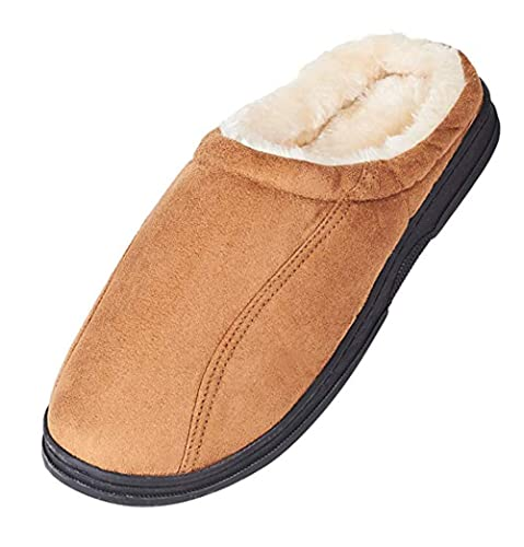 796e8a710 LA PLAGE Men s Slip On Backless Moccasin Bedroom Slippers Size 9.5-10.5 US  Brown