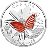 2016 CA Modern Commemorative BUTTERFLY COLOURFUL WINGS Translucent Agate Silver Coin 20$ Canada 2016 Proof