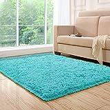 HEBE Area Rug Fluffy Living Room Area Rugs Carpet Suitable Children Bedroom Decor Nursery Rug 4 Feet 5.3 Feet (4'x5.3', Blue)