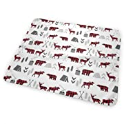 Buffalo Plaid Woodland Moose Deer Bear Forest Baby Crib Pee Mat Washable Urine Bed Pads Absorbent Reusable - Changing Pad Waterproof Mattress Protector For Toddler Kids Infant Pets Incontinence
