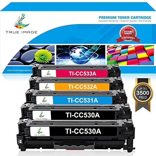 TRUE IMAGE Compatible Toner Cartridge Replacement for HP CC530A HP Color LaserJet CP2025 CP2025N CP2025DN CM2320 CM2320N MFP CM2320NF MFP CM2320FXI MFP 5Pack (2 Black,1 Cyan,1 Magenta,1 Yellow) (Printer Cp2025 Laserjet Color)