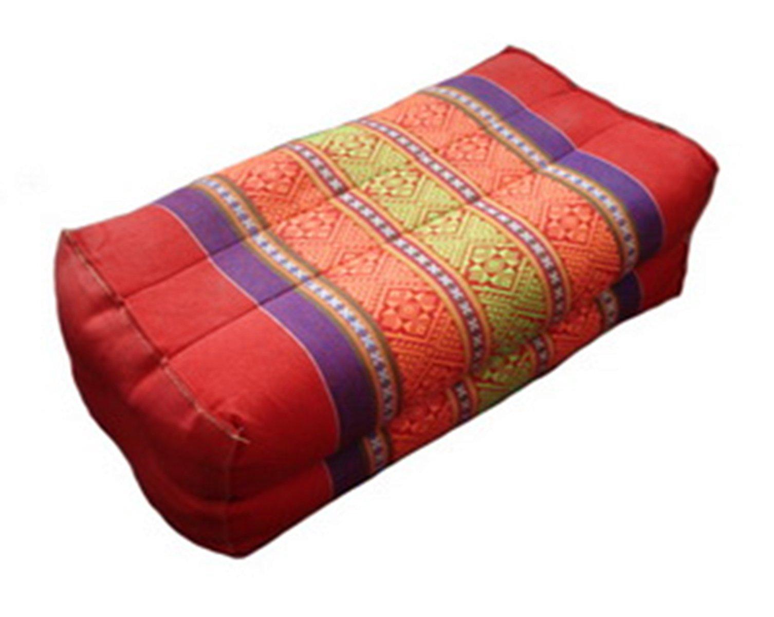 Thai Style Tradition Thai Fabric Block Pillow, 15x38x12 Cm., Kapok (Red) by Thai handmade