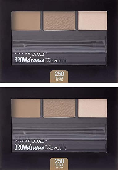 ca21f23ecd5 Amazon.com : (2 Pack) Maybelline New York Brow Drama Pro Eyebrow Palette,  250 Blonde, 0.1 Ounce : Beauty