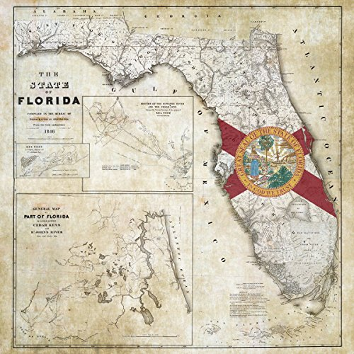 Rare Railroad Map Atlas - Historic 1846 State Flag Map of Florida Including Detail of Cedar Keys and St. John's River, US Corps of Topographical Engineers | Vintage Wall Art | 44in x 44in