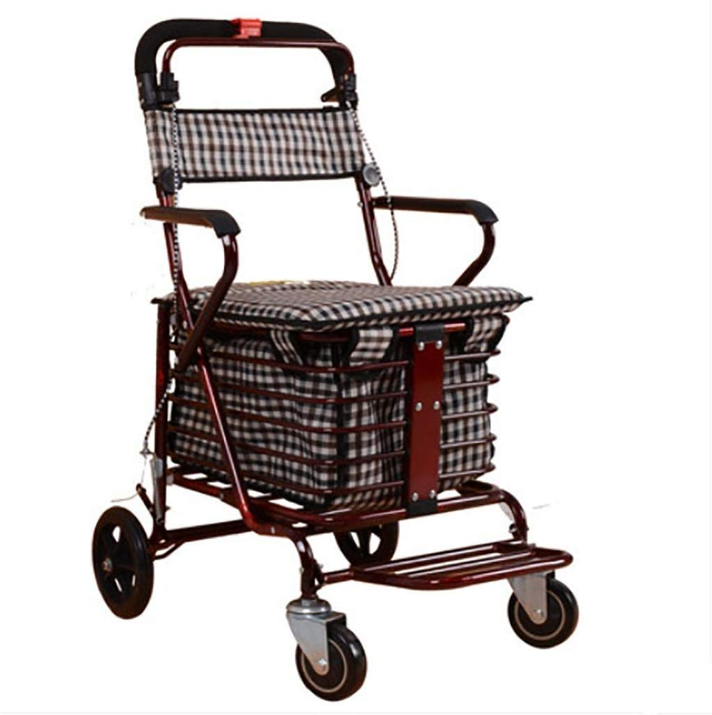 Shopping Basket Folding Wheel Portable Rolling Comfortable Old Man Shopping Cart BHXUD