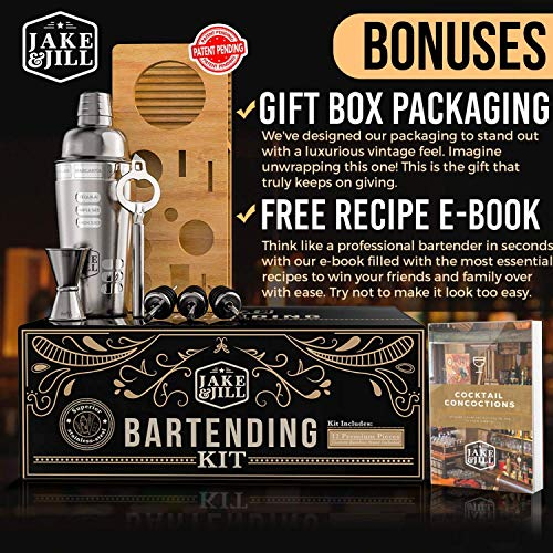 Premium Bartender Kit Engraved Recipes - 12 Piece Cocktail Shaker Set, Essential Bar Accessories, Bamboo Organizer Stand, and Bonus E-Book for Bartending Enthusiasts - The Perfect Gift by Jake & Jill by Jake & Jill (Image #4)