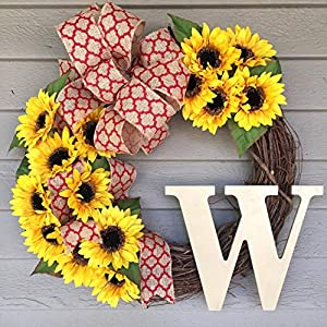 Sunflower Front Door Wreath with Monogram 25