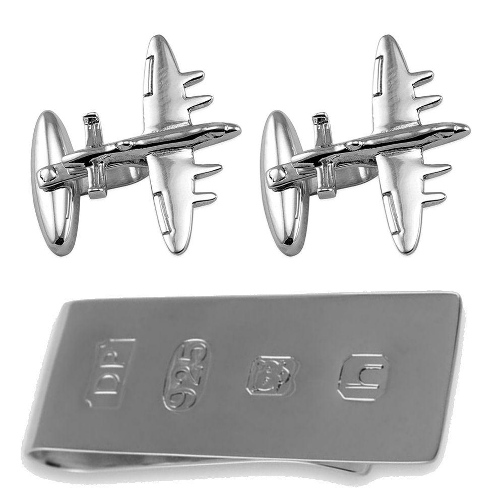 Sterling Silver Bomber Plane Cufflinks James Bond Money Clip Box Set