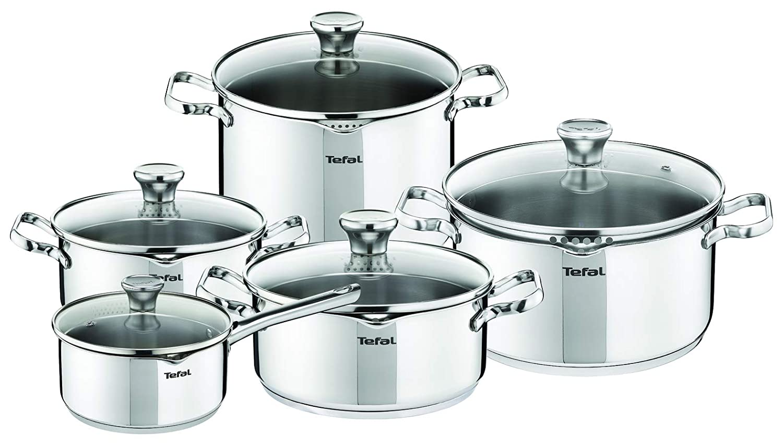 Tefal Duetto Batería De Cocina, Acero Inoxidable/Cristal, Plateado/Transparente: Amazon.es: Hogar