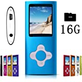 G.G.Martinsen Blue Versatile MP3/MP4 Player with a 16GB Micro SD Card, Support Photo Viewer, Mini USB Port 1.8 LCD, Digital MP3 Player, MP4 Player, Video/Media/Music Player