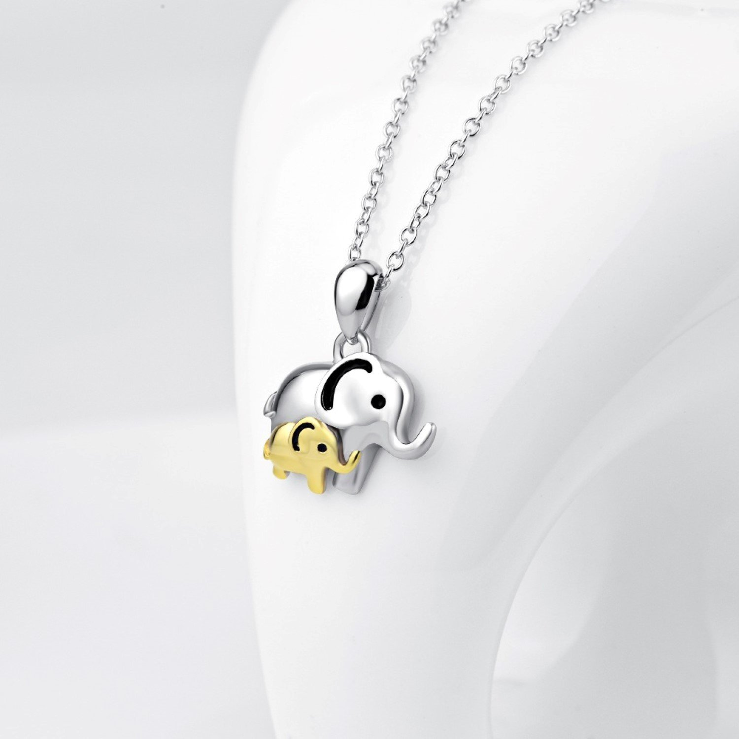 CS-DB Mother Love Mom and Child Lucky Elephant Top Stylish Silver Necklaces Pendants