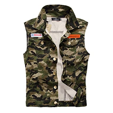 633ef35854c98 Mens Camo Fit Retro Ripped Demin Jeans Gilets Camouflage Sleeveless Jacket  Vest Waistcoat Top Vest Camouflage