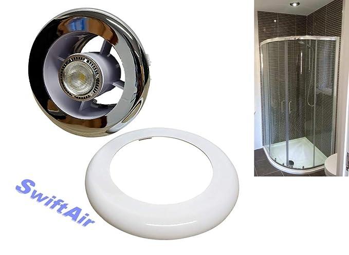 Enjoyable Bathroom Sl4Wc Shower Extractor Fan Chrome White Grill Light Transformer Light Beutiful Home Inspiration Xortanetmahrainfo