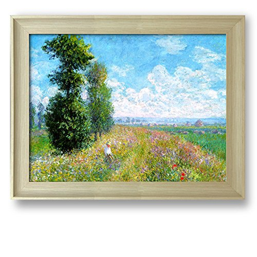 Framed Art Meadow with Poplars by Claude Monet Famous Painting Wall Decor Natural Wood Finish Frame