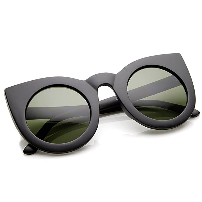 zeroUV - 70s Womens Large Oversized Retro Vintage Cat Eye Sunglasses For Women with Round Lens 48mm