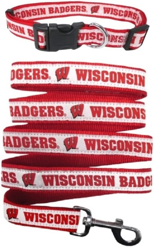 Red, Pets First Wisconsin Badgers NCAA Woven Dog Leash