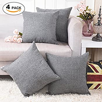 "Home Brilliant Decorative Linen Square Throw Cushion Covers Pillow Shams for Bed, 18"" x 18"", Dark Grey, 4 Pack"